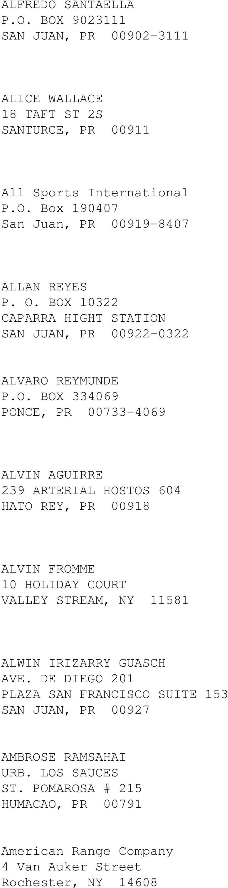 HATO REY, PR 00918 ALVIN FROMME 10 HOLIDAY COURT VALLEY STREAM, NY 11581 ALWIN IRIZARRY GUASCH AVE.
