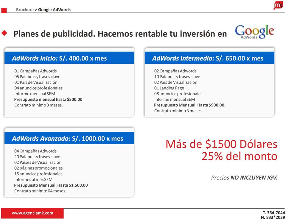 AdWords Intermedio: S/. 650.