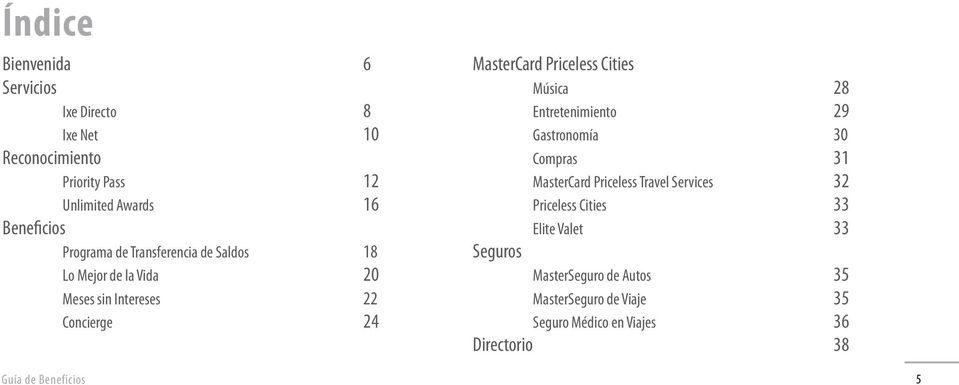 Cities Música 28 Entretenimiento 29 Gastronomía 30 Compras 31 MasterCard Priceless Travel Services 32 Priceless Cities 33