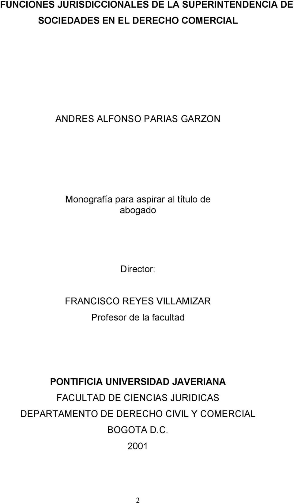 Director: FRANCISCO REYES VILLAMIZAR Profesor de la facultad PONTIFICIA UNIVERSIDAD