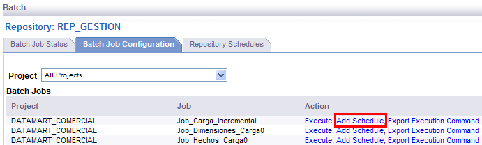 Accedemos a: Batch -> REP_GESTION. Se visualizará el proyecto y sus jobs respectivos.