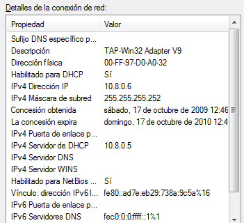 Implementación de una red privada virtual para 48 el control remoto de equipos de laboratorio. Fig.4.27 Interfaz de red virtual de OpenVPN en Windows XP Fig.4.28 Dirección MAC de la interfaz de red virtual.