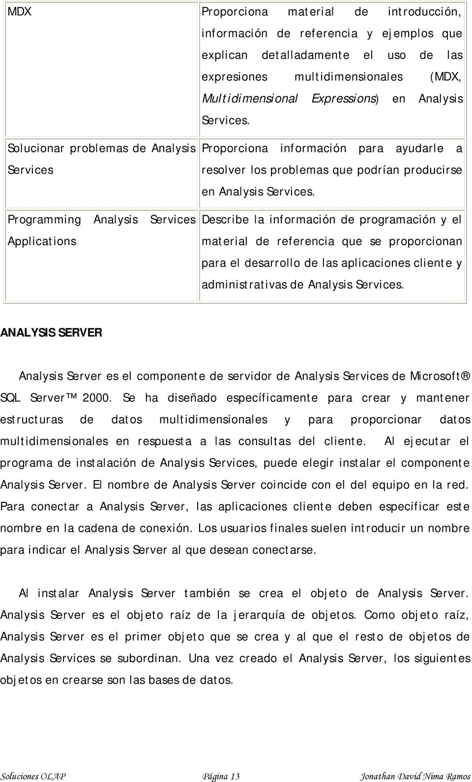 Solucionar problemas de Analysis Services Programming Analysis Services Applications Proporciona información para ayudarle a resolver los problemas que podrían producirse en Analysis  Describe la