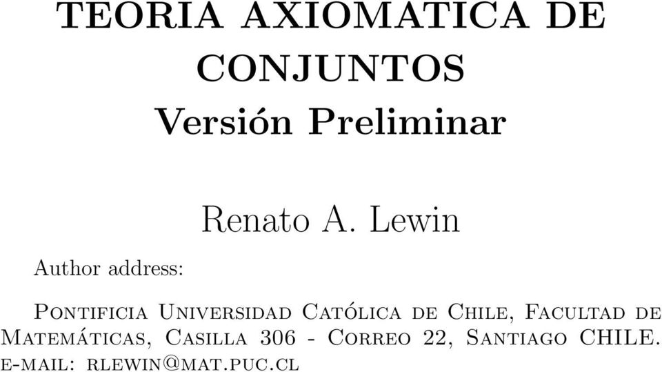 Lewin Pontificia Universidad Católica de Chile,