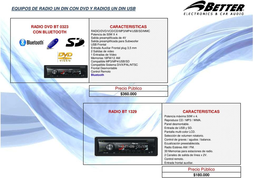 Control Remoto Bluetooth $360.000 RADIO BT 1329 Potencia máxima 50W x 4. Reproduce CD / MP3 / WMA. Panel desmontable. Entrada de USB y SD. Pantalla multi-color LCD. Selección de volumen rotatorio.