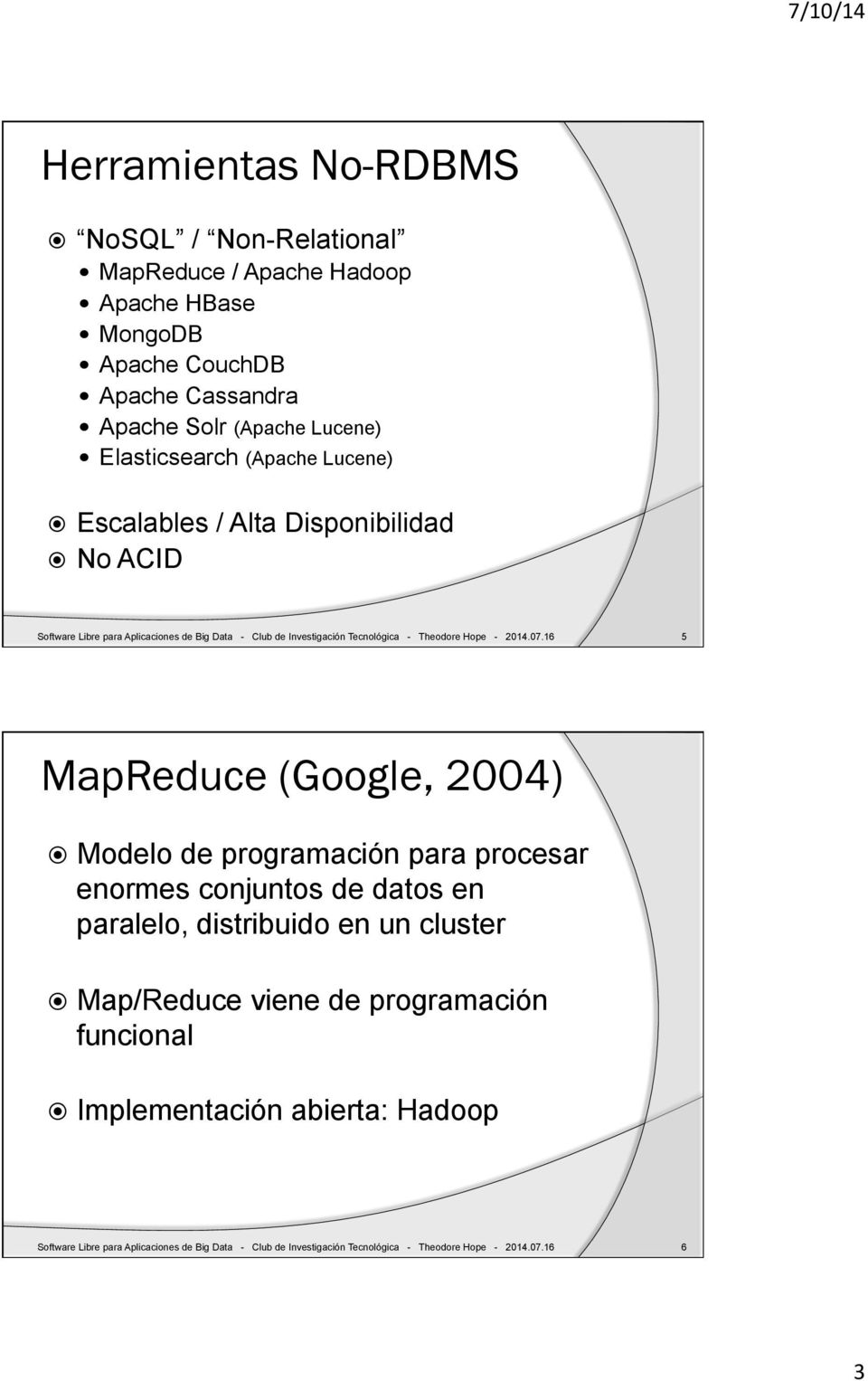 Lucene)! Escalables / Alta Disponibilidad! No ACID Software Libre para Aplicaciones de Big Data - Club de Investigación Tecnológica - Theodore Hope - 2014.07.