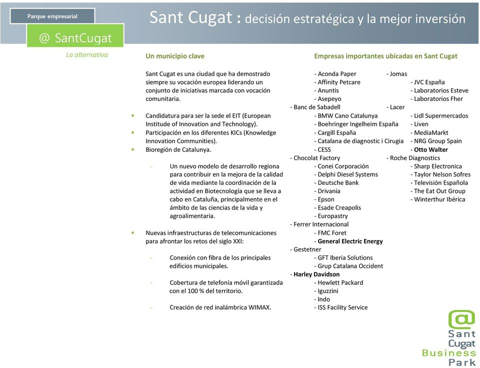 - Asepeyo - Laboratorios Fher - Banc de Sabadell - Lacer Candidatura para ser la sede el EIT (European - BMW Cano Catalunya - Lidl Supermercados Institude of Innovation and Technology).