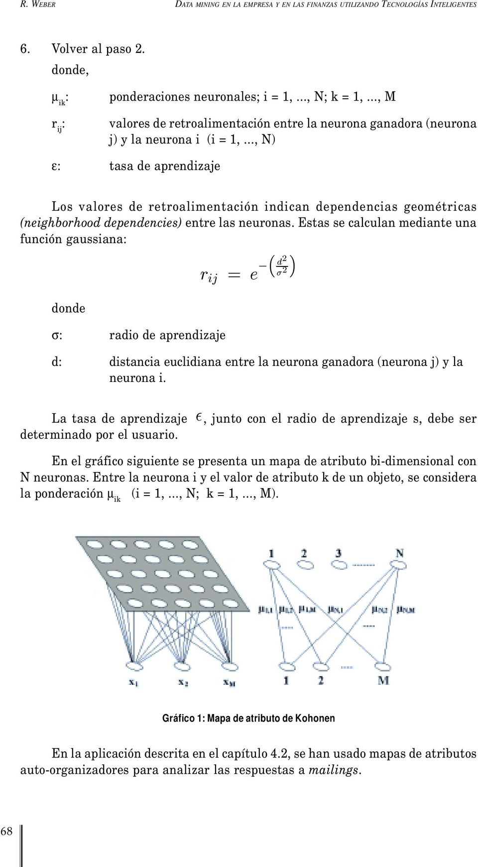 .., N) ε: tasa de aprendizaje Los valores de retroalimentación indican dependencias geométricas (neighborhood dependencies) entre las neuronas.