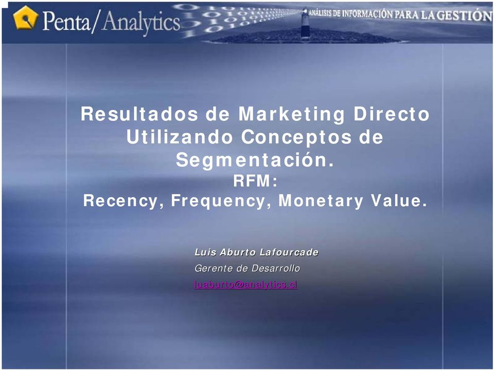 RFM: Recency, Frequency, Monetary Value.