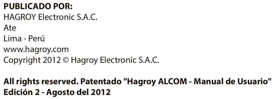 "Patentado ""Hagroy ALCOM - Manual de Usuario"""