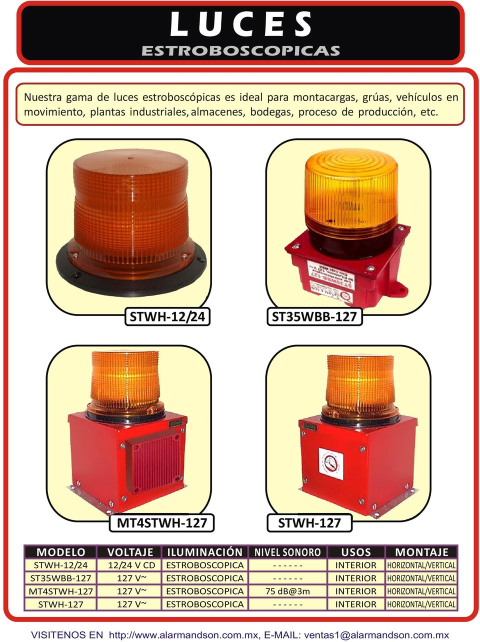 STWH-12/24 ST35WBB-127 MT4STWH-127 STWH-127 MODELO VOLTAJE ILUMINACIÓN NIVEL SONORO USOS MONTAJE STWH-12/24