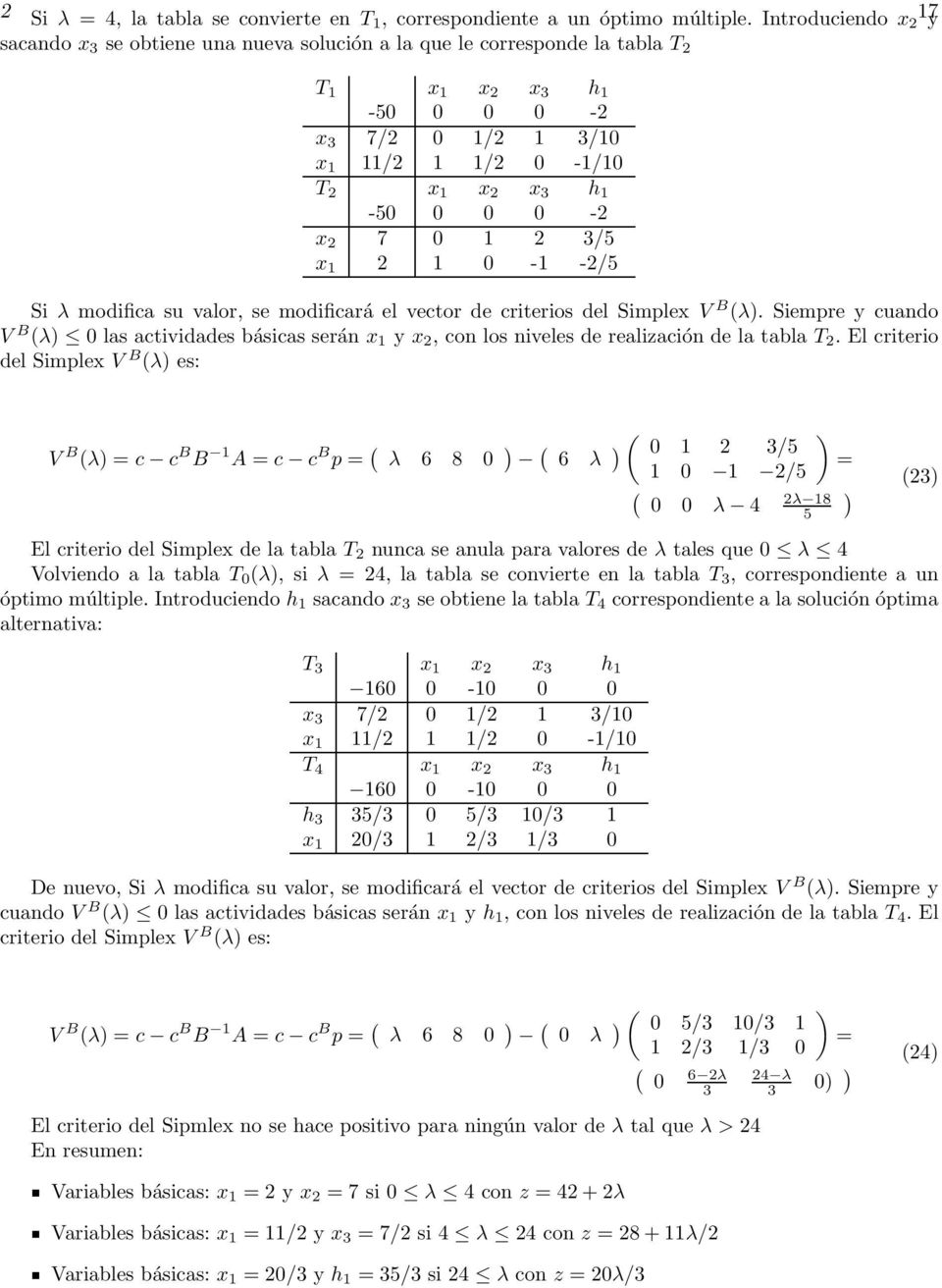 0-2 x 2 7 0 1 2 3/5 x 1 2 1 0-1 -2/5 Si λ modifica su valor, se modificará el vector de criterios del Simplex V B (λ).