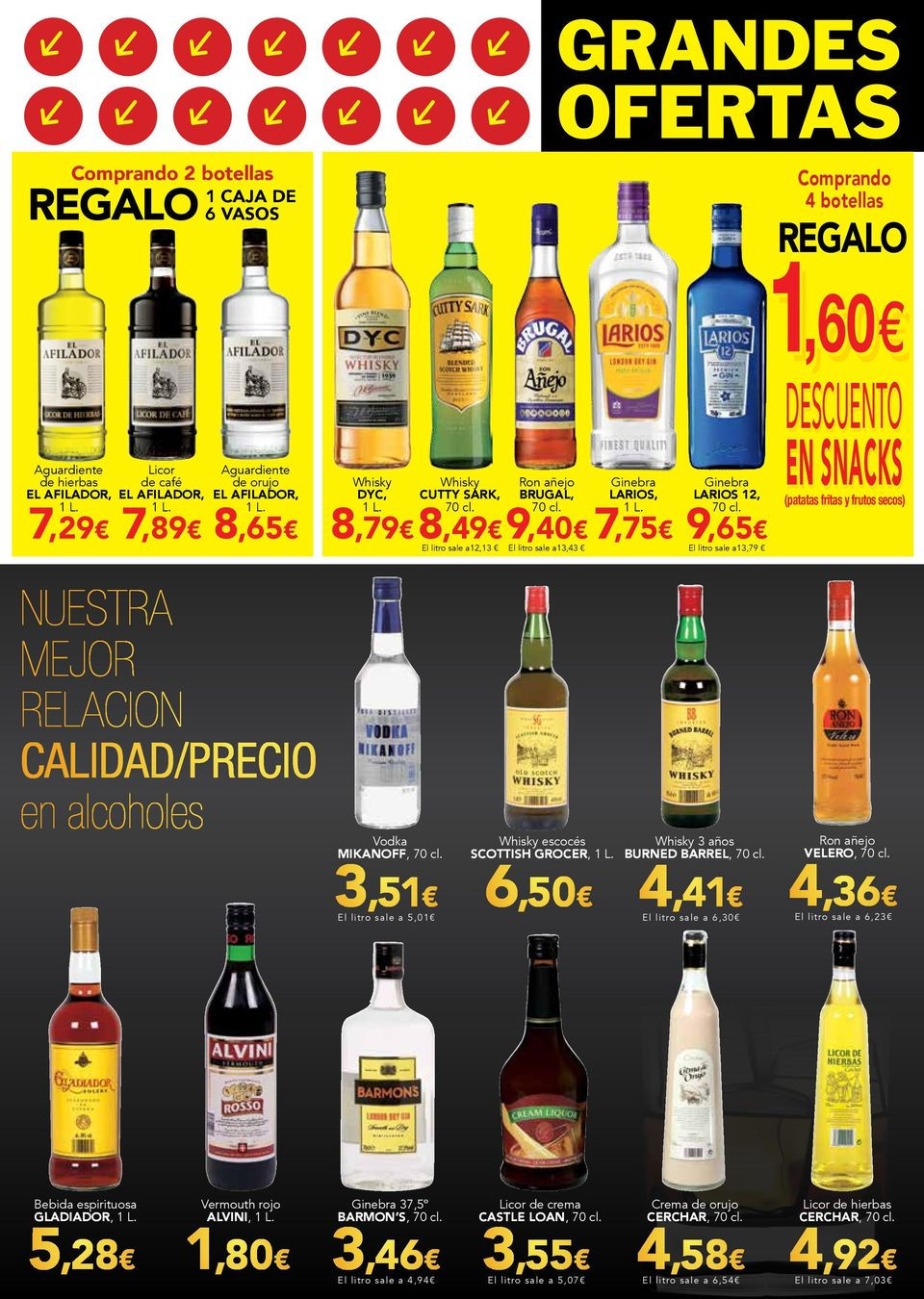 Vermouth rojo alvini, (patatas fritas y frutos secos) El litro sale a13,79 Whisky escocés Whisky 3 años scottish grocer, burned barrel, Ron añejo velero, 3,51 6,50 4,41 4,36 El lit ro sale a 5,01