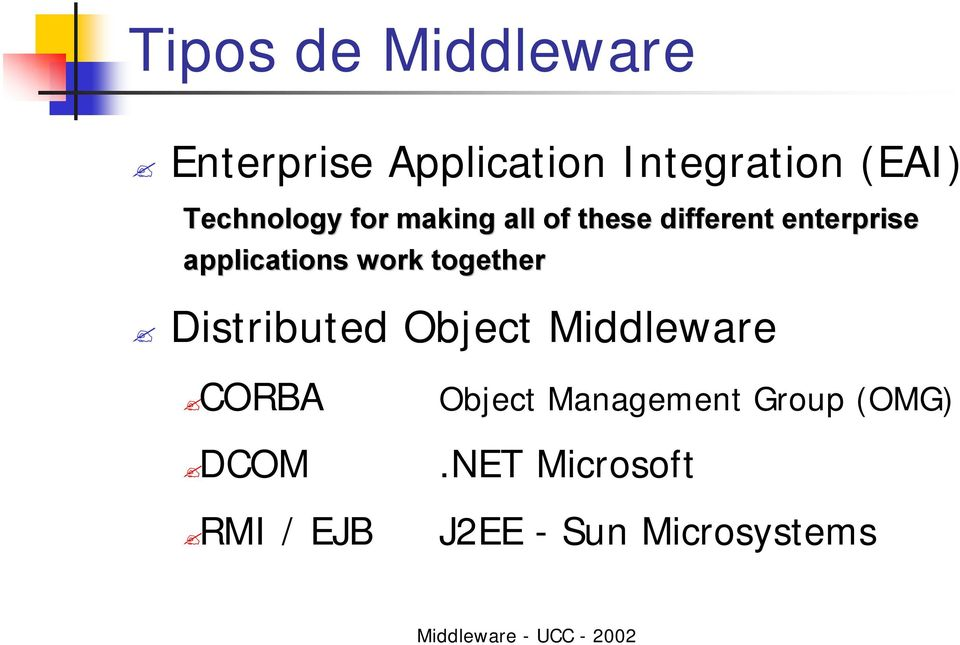 applications work together Distributed Object Middleware CORBA