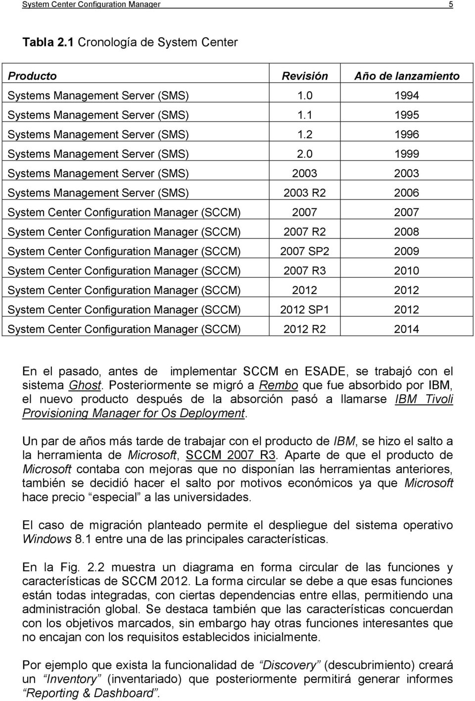 0 1999 Systems Management Server (SMS) 2003 2003 Systems Management Server (SMS) 2003 R2 2006 System Center Configuration Manager (SCCM) 2007 2007 System Center Configuration Manager (SCCM) 2007 R2