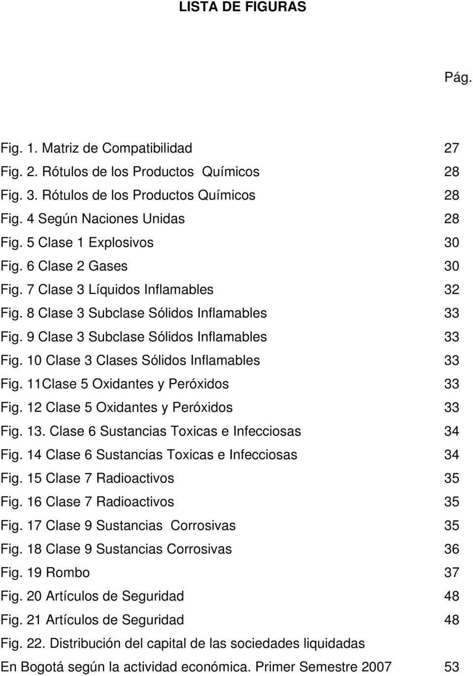 10 Clase 3 Clases Sólidos Inflamables 33 Fig. 11Clase 5 Oxidantes y Peróxidos 33 Fig. 12 Clase 5 Oxidantes y Peróxidos 33 Fig. 13. Clase 6 Sustancias Toxicas e Infecciosas 34 Fig.