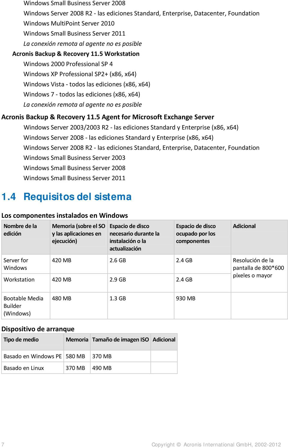 5 Workstation Windows 2000 Professional SP 4 Windows XP Professional SP2+ (x86, x64) Windows Vista - todos las ediciones (x86, x64) Windows 7 - todos las ediciones (x86, x64) La conexión 5 Agent for