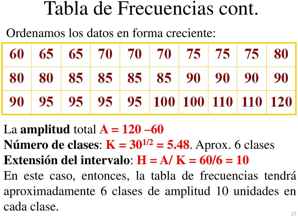 clases: K = 30 1/2 = 5.48. Aprox.