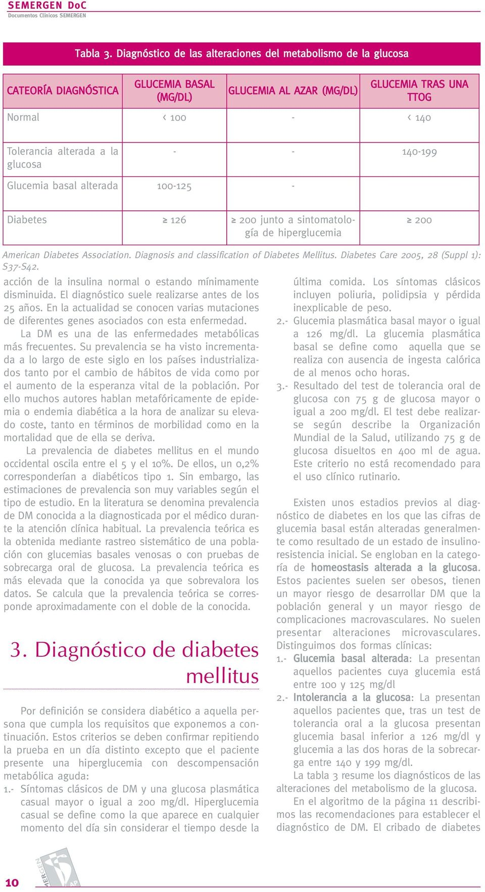 Glucemia basal alterada 100-125 - Diabetes 126 200 junto a sintomatología de hiperglucemia 200 American Diabetes Association. Diagnosis and classification of Diabetes Mellitus.