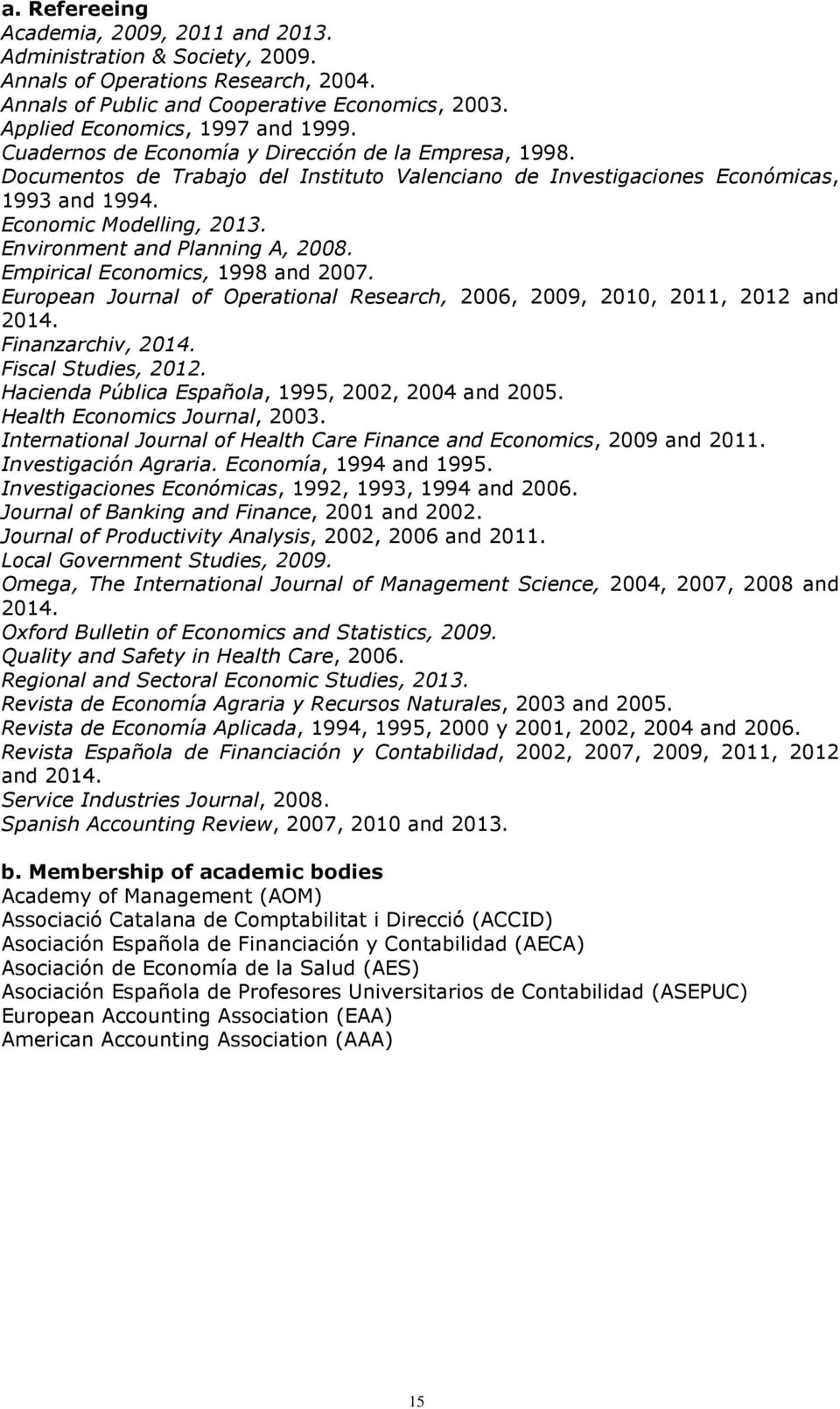 Environment and Planning A, 2008. Empirical Economics, 1998 and 2007. European Journal of Operational Research, 2006, 2009, 2010, 2011, 2012 and 2014. Finanzarchiv, 2014. Fiscal Studies, 2012.