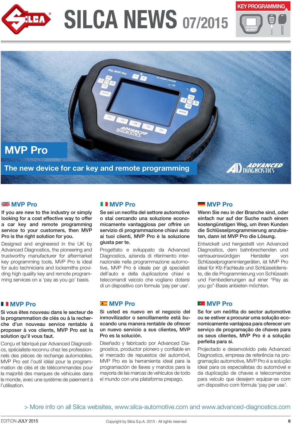 Designed and engineered in the UK by Advanced Diagnostics, the pioneering and trustworthy manufacturer for aftermarket key programming tools, MVP Pro is ideal for auto technicians and locksmiths