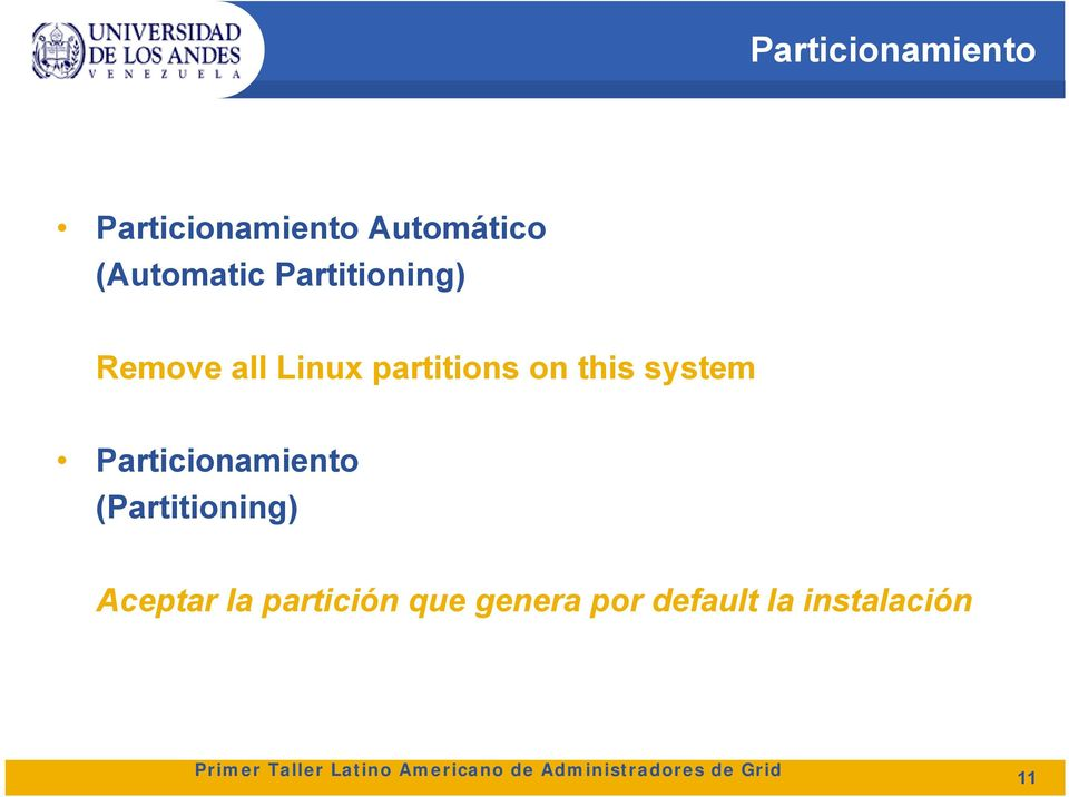 partitions on this system Particionamiento