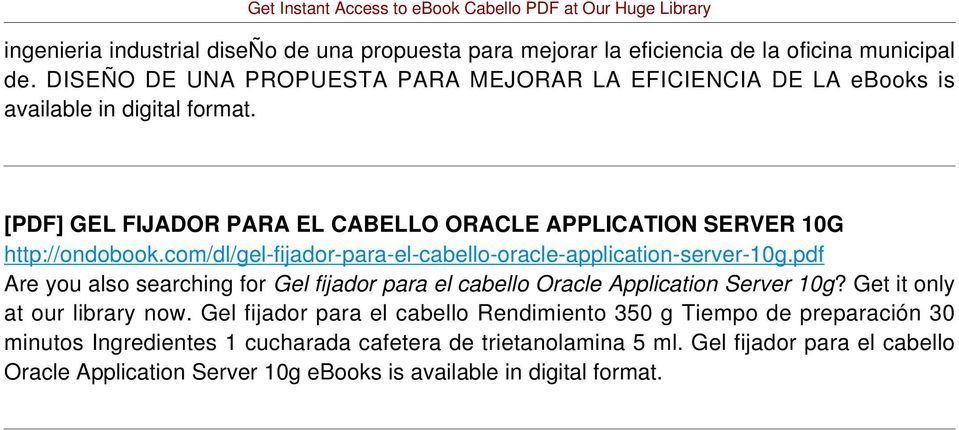 [PDF] GEL FIJADOR PARA EL CABELLO ORACLE APPLICATION SERVER 10G http://ondobook.com/dl/gel-fijador-para-el-cabello-oracle-application-server-10g.
