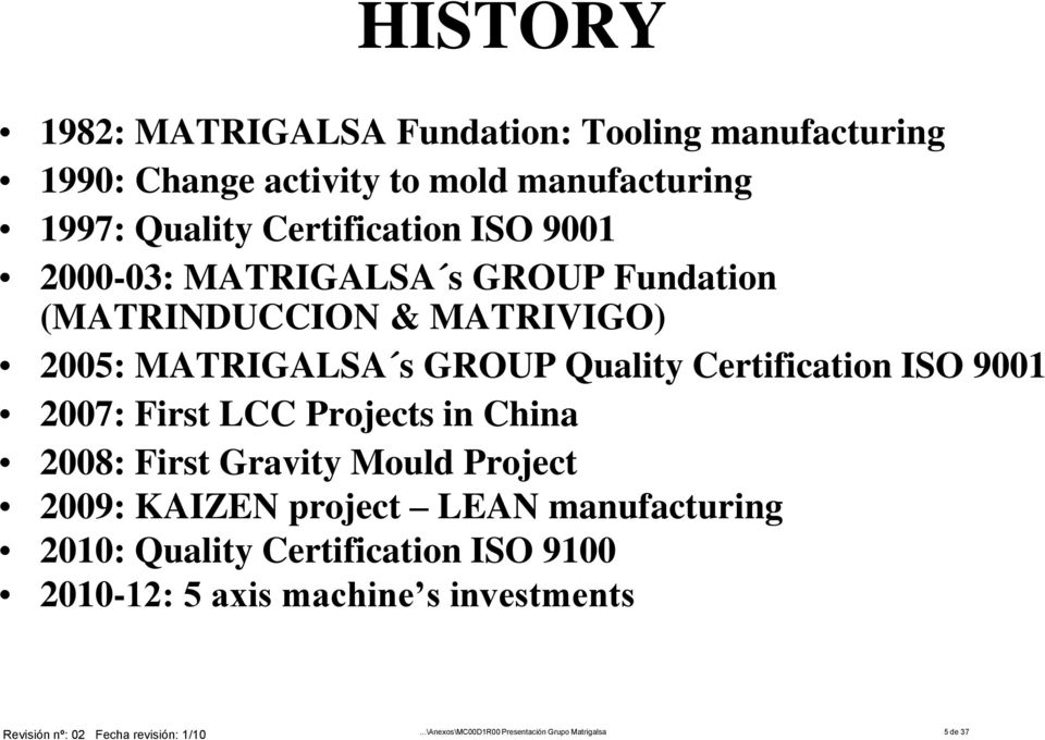 Certification ISO 9001 2007: First LCC Projects in China 2008: First Gravity Mould Project 2009: KAIZEN project LEAN