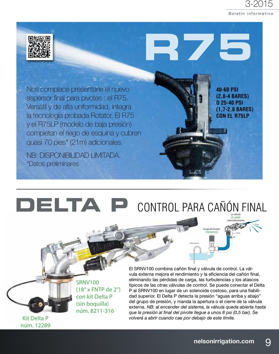 *Datos preliminares 40-60 PSI (2,8-4 bares) o 25-40 PSI (1,7-2,8 bares) con el R75LP NOZZLE VALVE CONTROL USING P Nozzle Valve Automatically CLOSES Booster Pump OFF P Pressurized Last Sprinkler