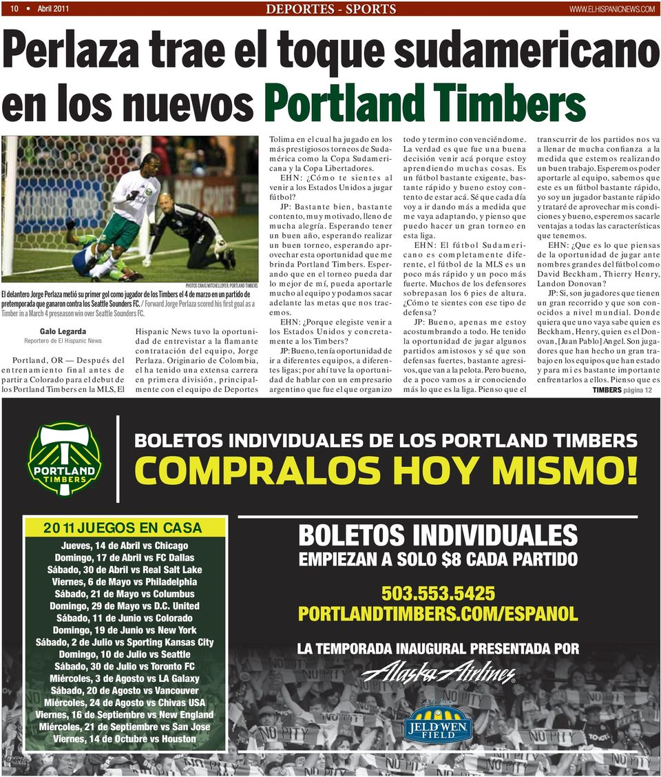 / Forward Jorge Perlaza scored his first goal as a Timber in a March 4 preseason win over Seattle Sounders FC.