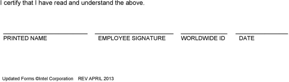PRINTED NAME EMPLOYEE SIGNATURE