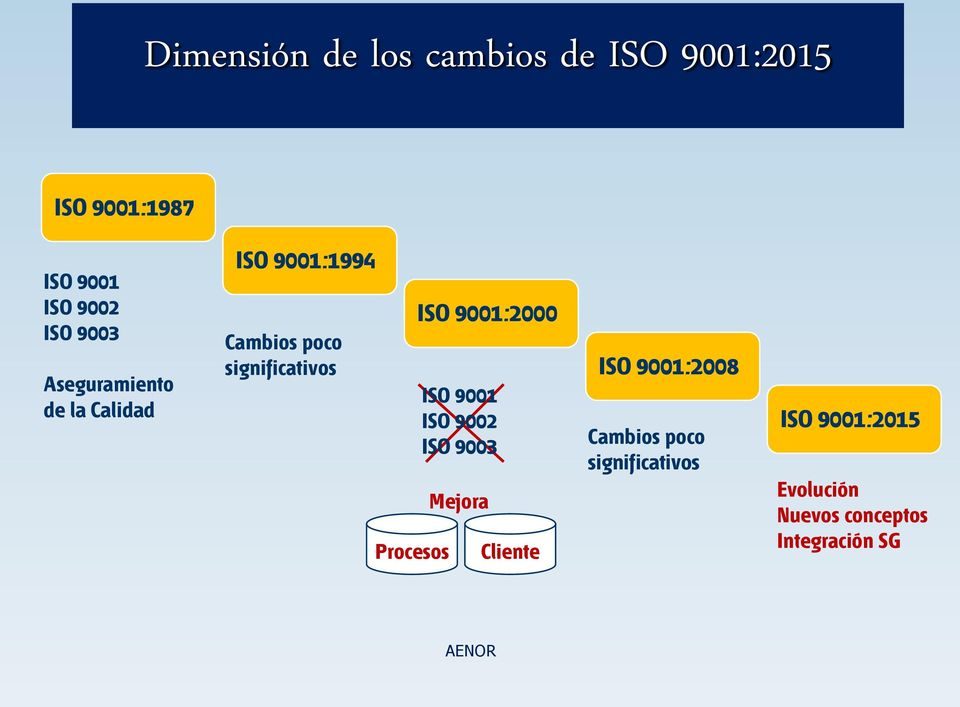 Procesos ISO 9001:2000 ISO 9001 ISO 9002 ISO 9003 Mejora Cliente ISO 9001:2008