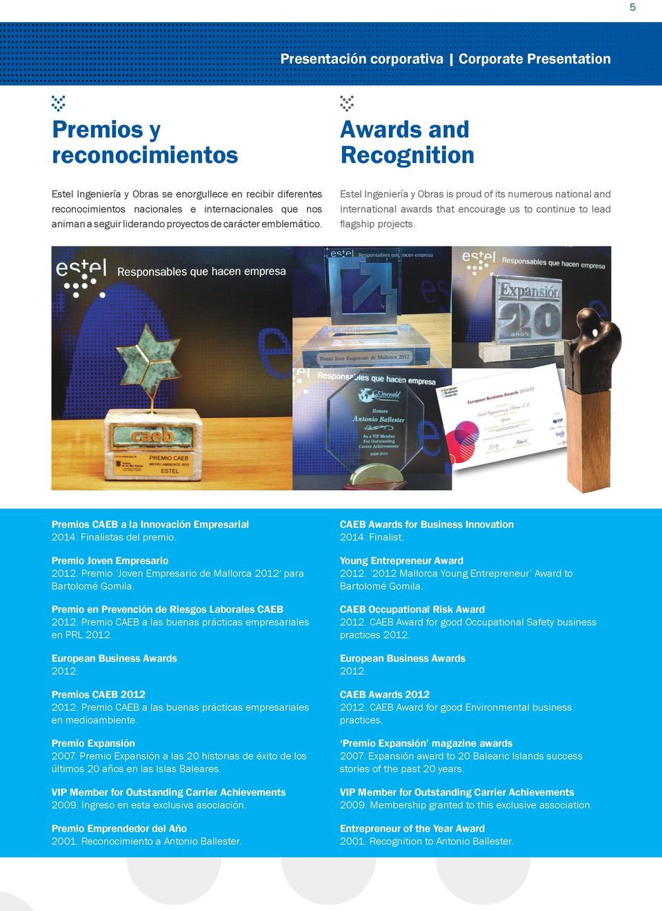 Awards and Recognition Estel Ingeniería y Obras is proud of its numerous national and international awards that encourage us to continue to lead flagship projects.