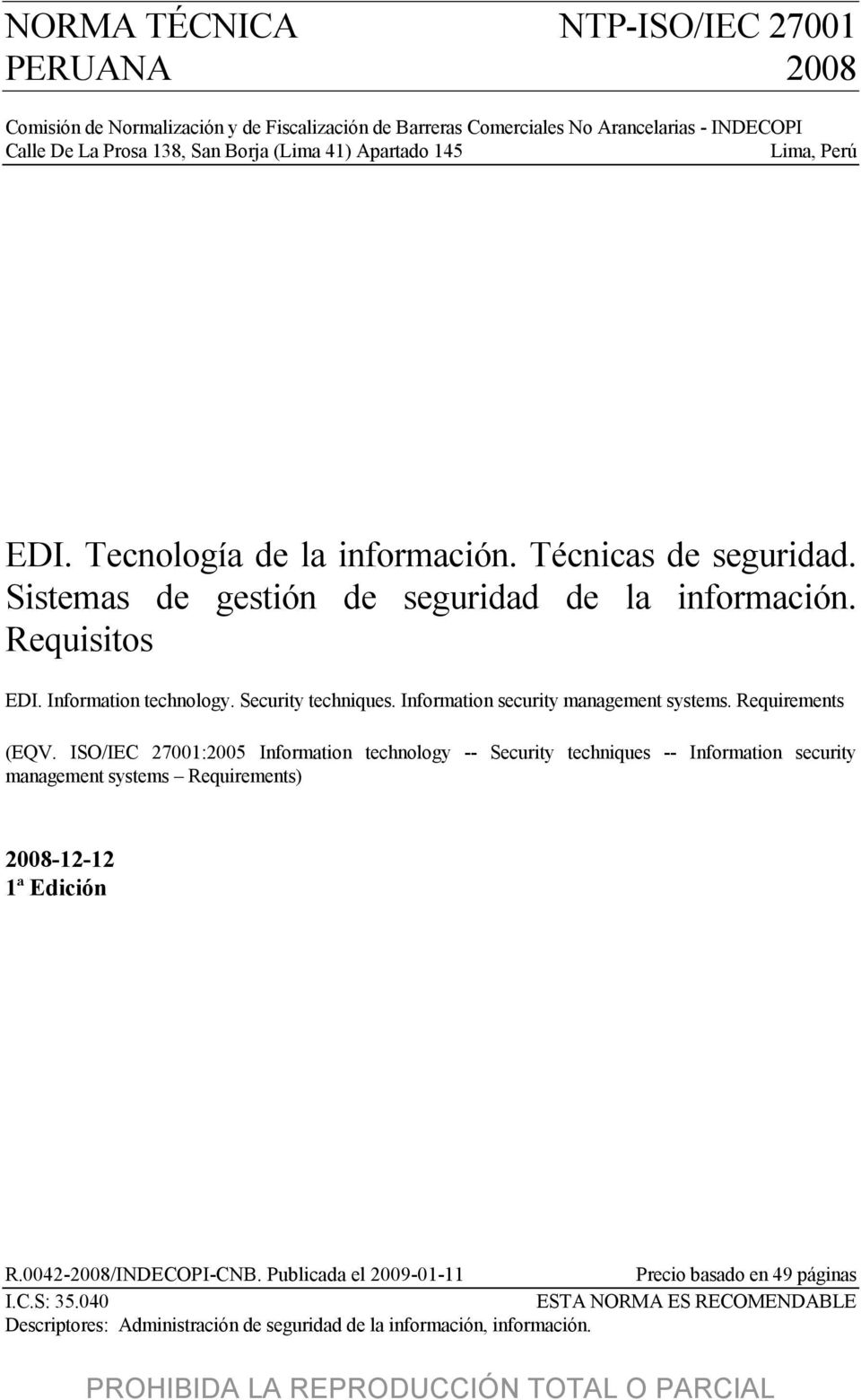 Information security management systems. Requirements (EQV.