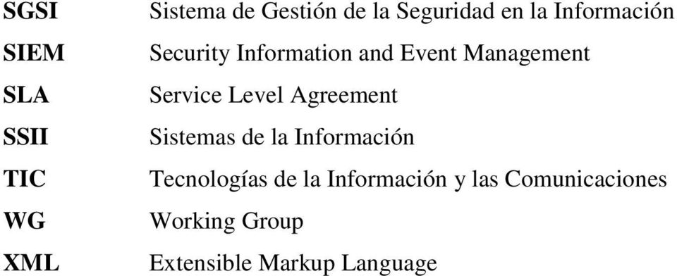 Service Level Agreement Sistemas de la Información Tecnologías de