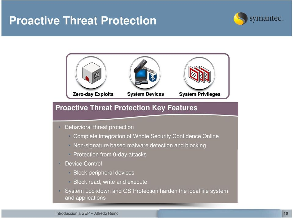 Non-signature based malware detection and blocking Protection from 0-day attacks Device Control Block