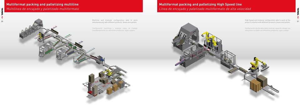 with different products, boxes and pallets. press of a button with different products, boxes and pallets.