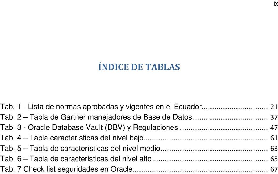 3 - Oracle Database Vault (DBV) y Regulaciones... 47 Tab. 4 Tabla características del nivel bajo.