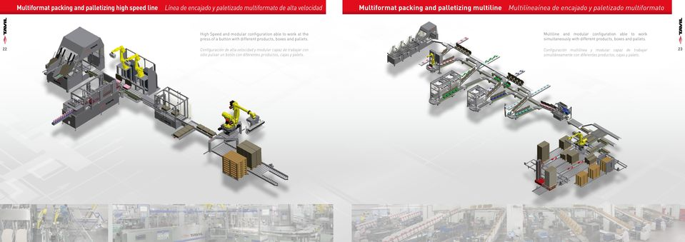 Multiline and modular configuration able to work simultaneously with different products, boxes and pallets.