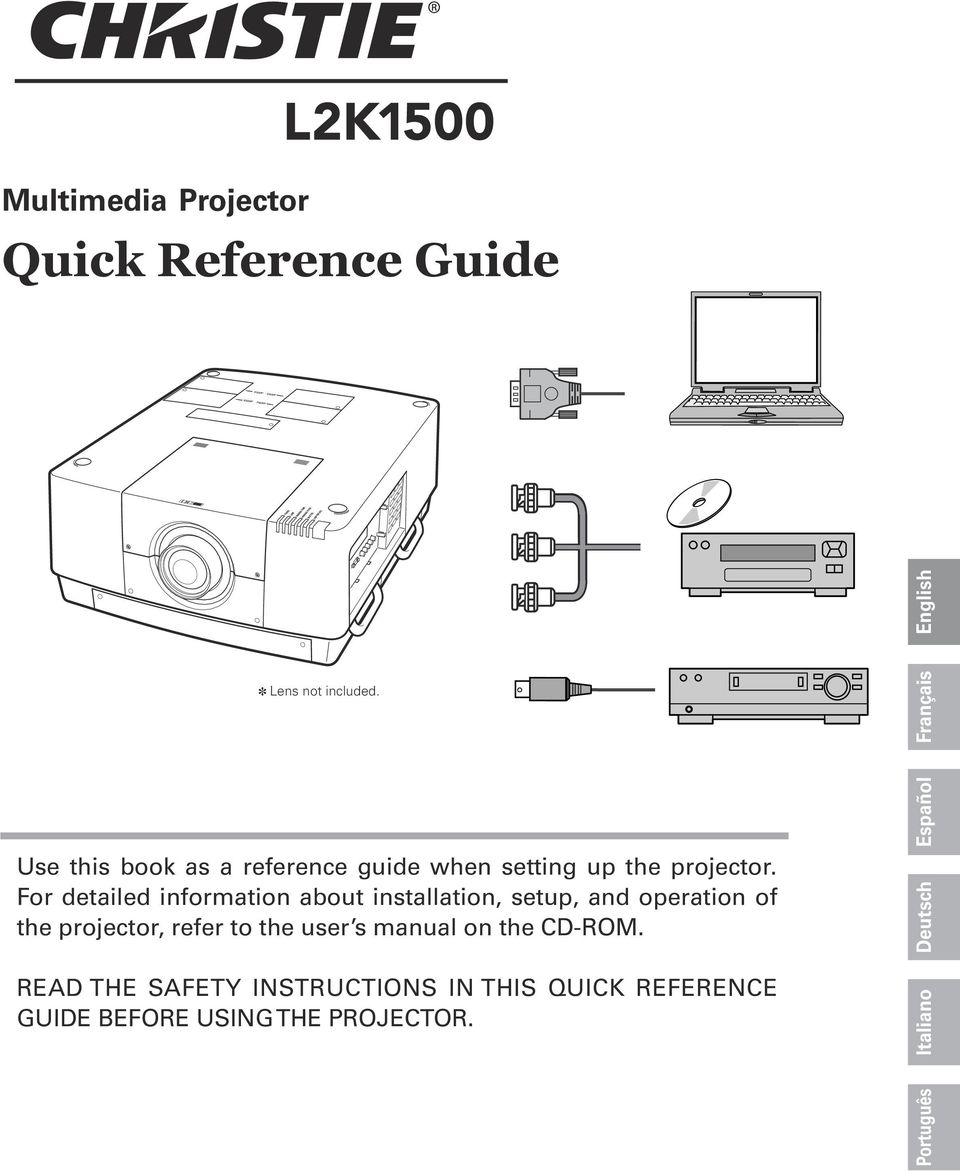 For detailed information about installation, setup, and operation of the projector, refer to the