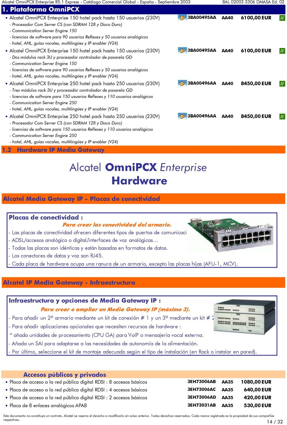 Engine 150 - licencias de software para 90 usuarios Reflexes y 50 usuarios analógicos - hotel, AHL, guías vocales, multilingües y IP enabler (V24) Alcatel OmniPCX Enterprise 150 hotel pack hasta 150