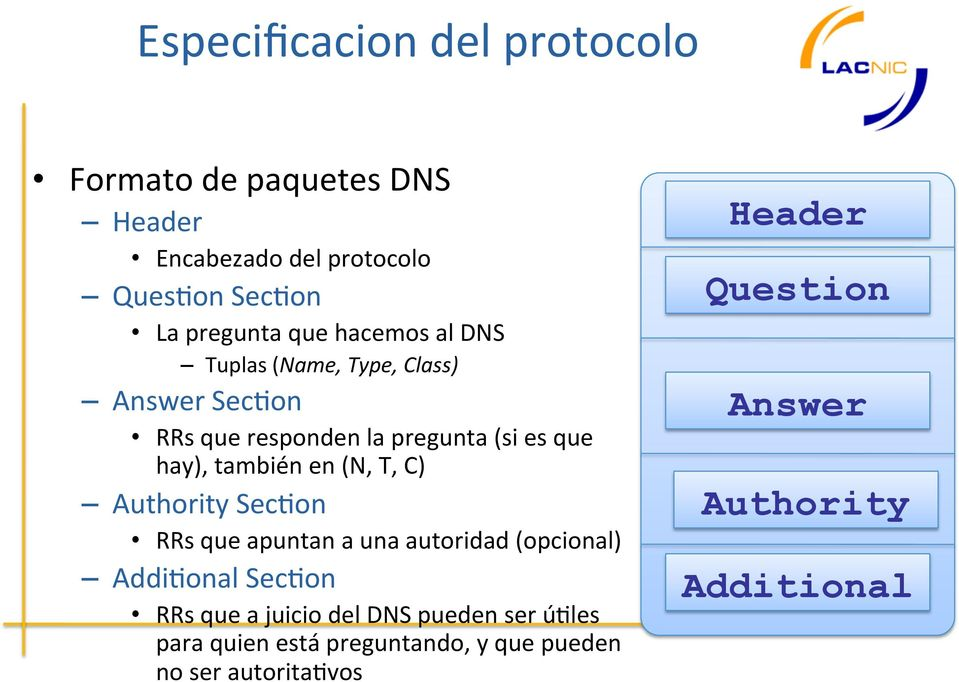 (N, T, C) Authority Sec7on RRs que apuntan a una autoridad (opcional) Addi7onal Sec7on RRs que a juicio del DNS