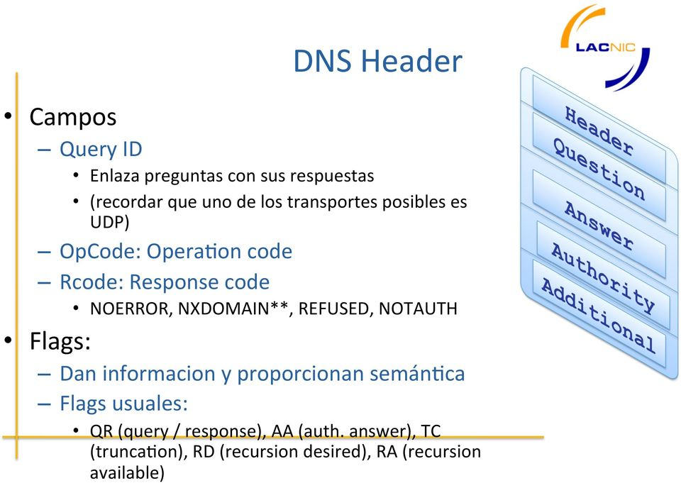 NXDOMAIN**, REFUSED, NOTAUTH Flags: Dan informacion y proporcionan semán7ca Flags usuales: