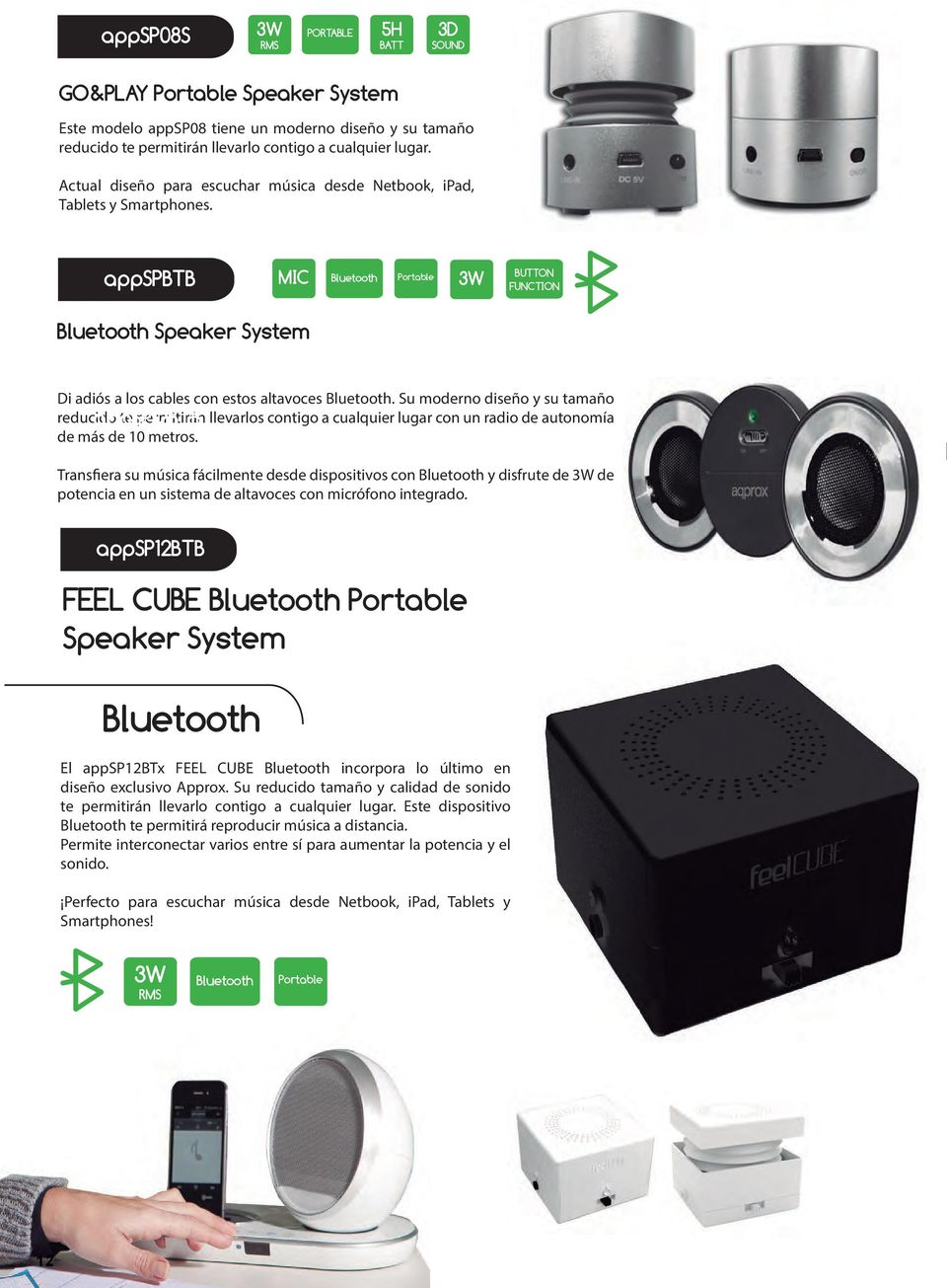 appspbtb MIC Bluetooth Portable 3W BUTTON FUNCTION Bluetooth Speaker System Di adiós a los cables con estos altavoces Bluetooth.