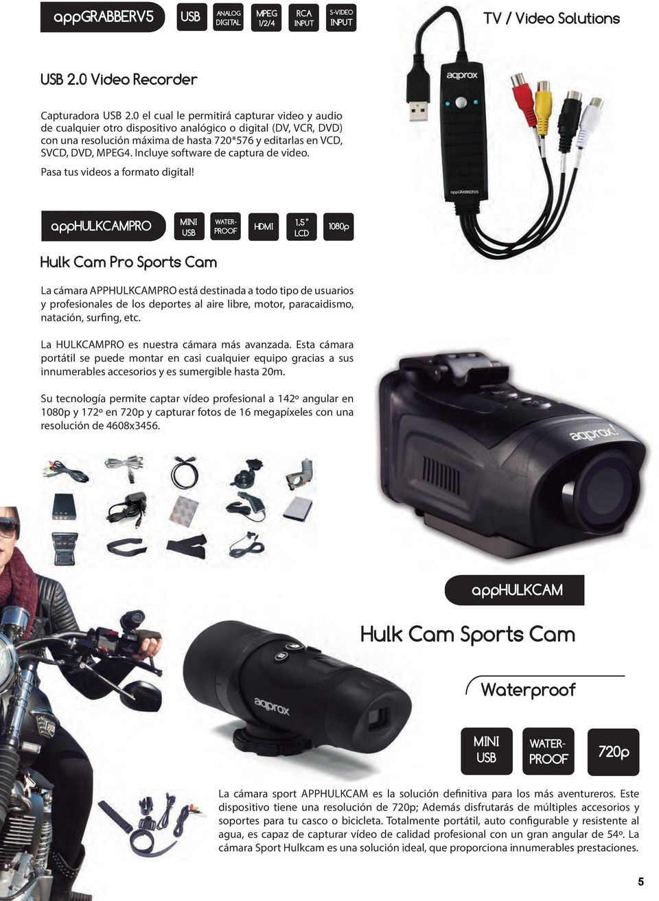 Incluye software de captura de video. Pasa tus videos a formato digital! apphulkcampro MINI WATER- PROOF HDMI 1.
