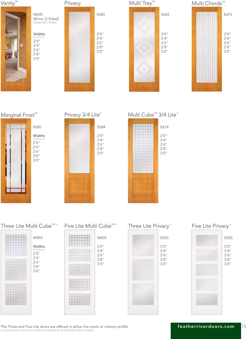 Privacy * Five Lite Privacy * M003 M005 E003 E005 The Three and Five Lite doors are offered in either the ovolo or