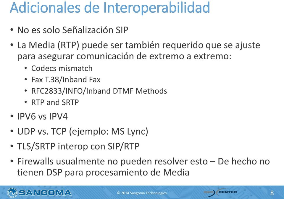 38/Inband Fax RFC2833/INFO/Inband DTMF Methods RTP and SRTP IPV6 vs IPV4 UDP vs.