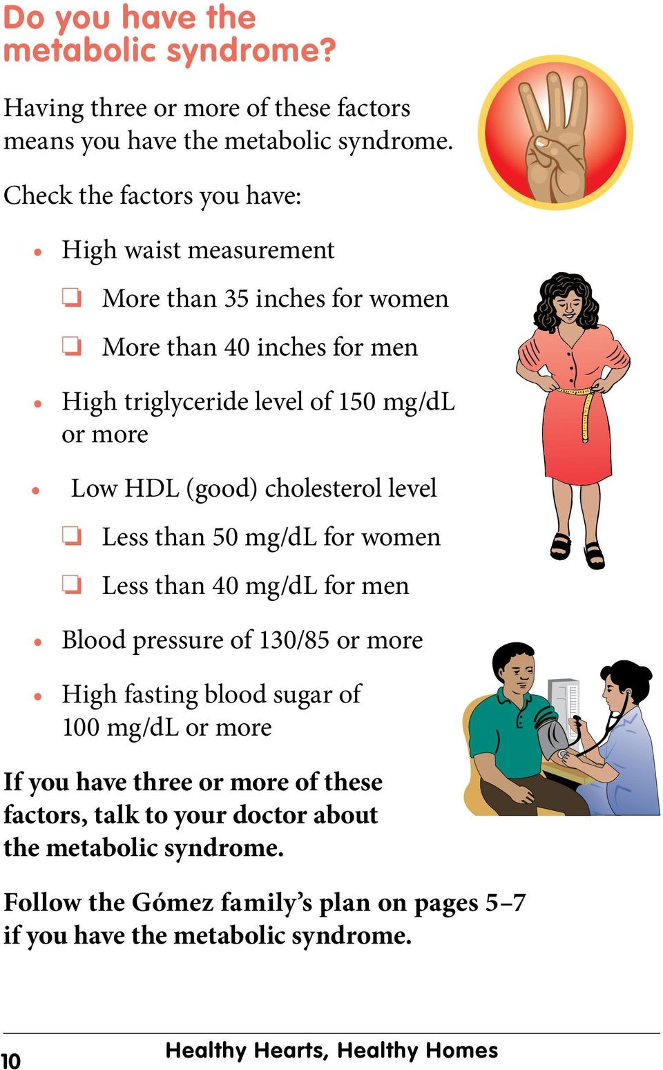 HDL (good) cholesterol level Less than 50 mg/dl for women Less than 40 mg/dl for men Blood pressure of 130/85 or more High fasting blood sugar of 100 mg/dl or