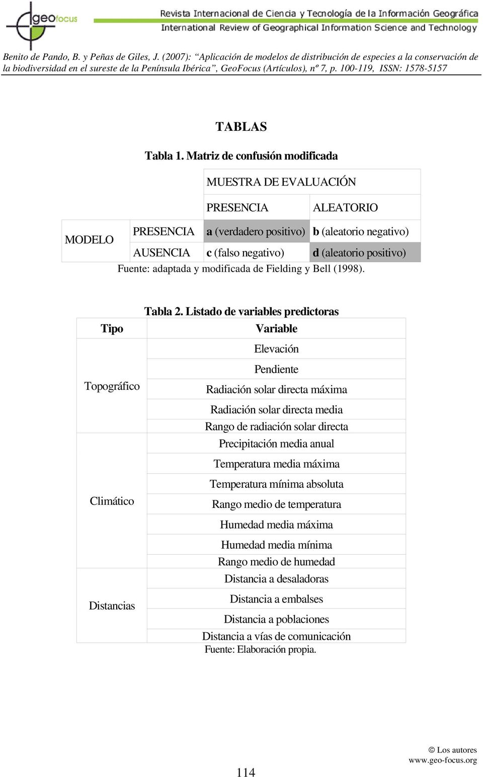 Fuente: adaptada y modificada de Fielding y Bell (1998). Tipo Tabla 2.