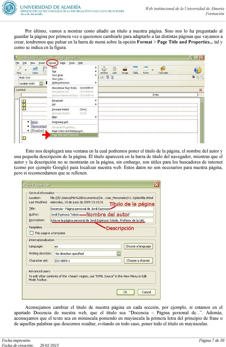 opción Format > Page Title and Properties.